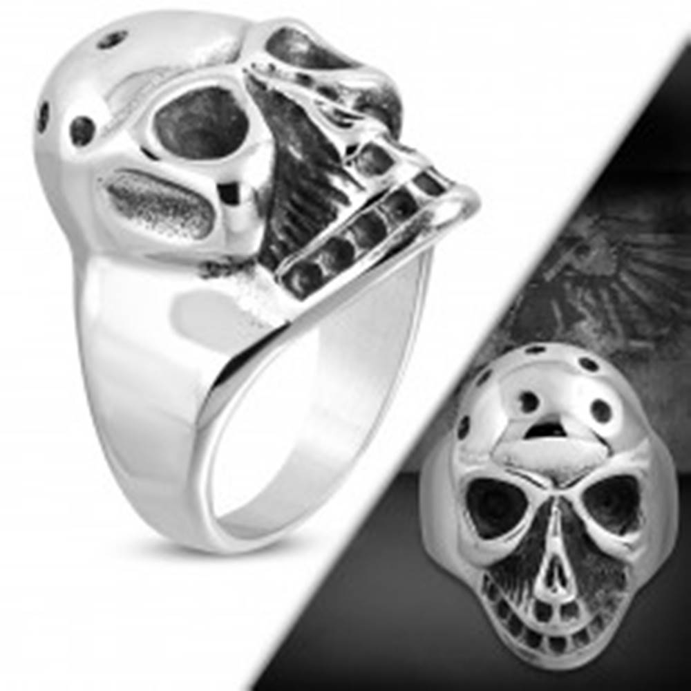 Šperky eshop Masívny prsteň z ocele 316L, patinovaná lebka s jamkami na temene - Veľkosť: 51 mm