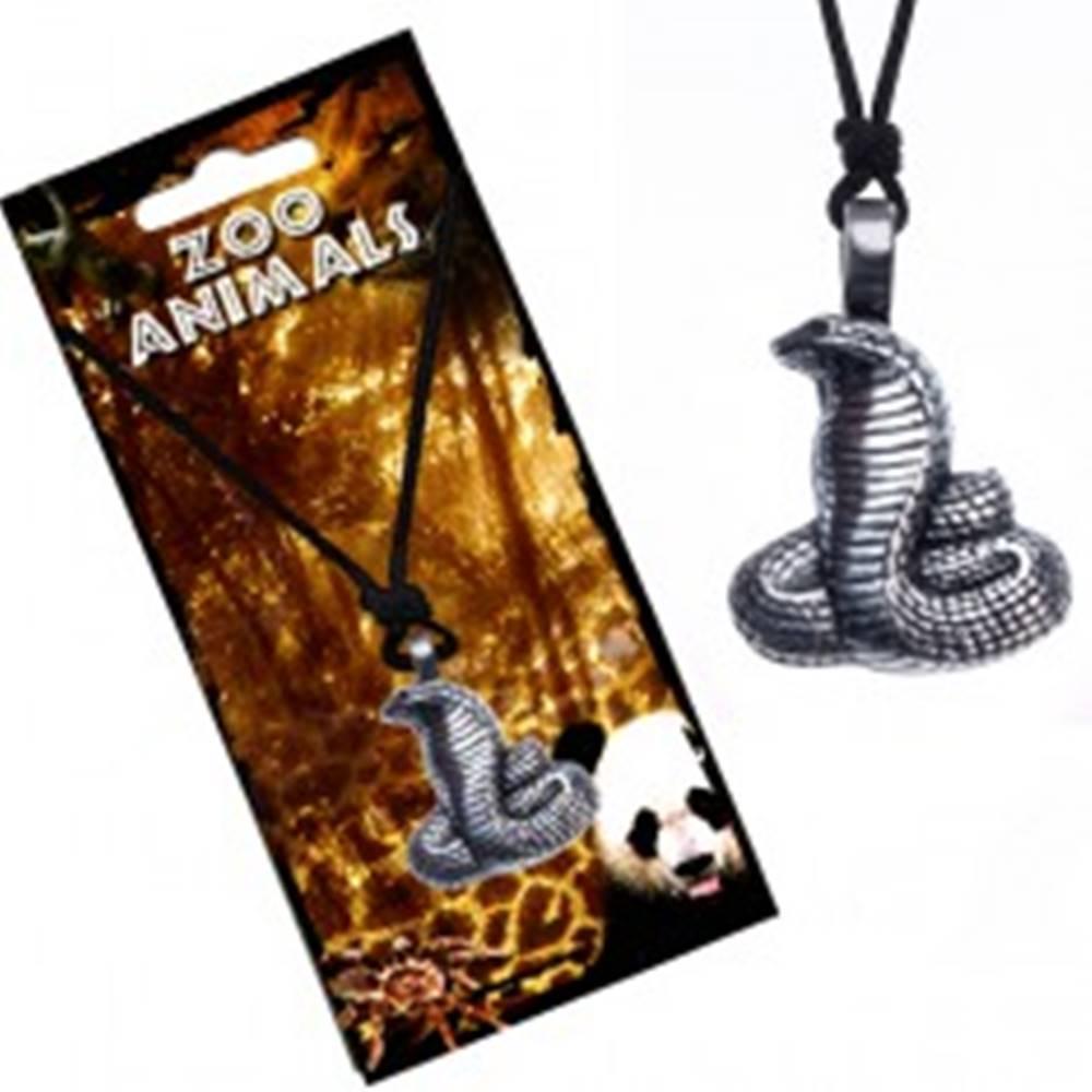Šperky eshop Náhrdelník na šnúrke, patinovaný prívesok kobry s ryhovaním