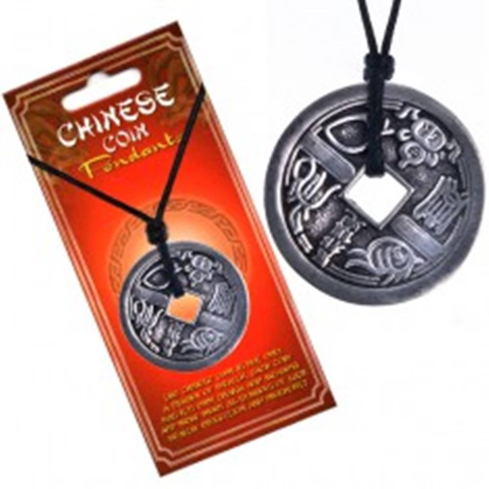 Šperky eshop Náhrdelník s príveskom - minca, motív zvierat, čínske znaky