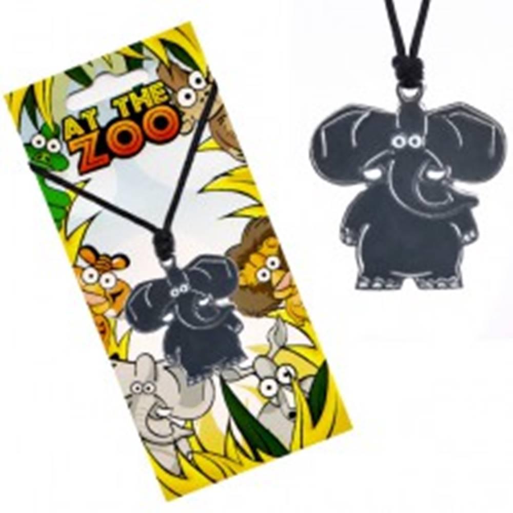Šperky eshop Náhrdelník s príveskom zvieratka, lesklý sivý slon, šnúrka