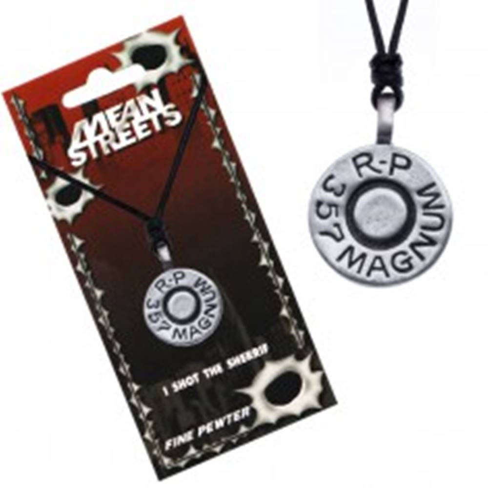 Šperky eshop Náhrdelník so šnúrkou, kruhový prívesok, náboj Magnum