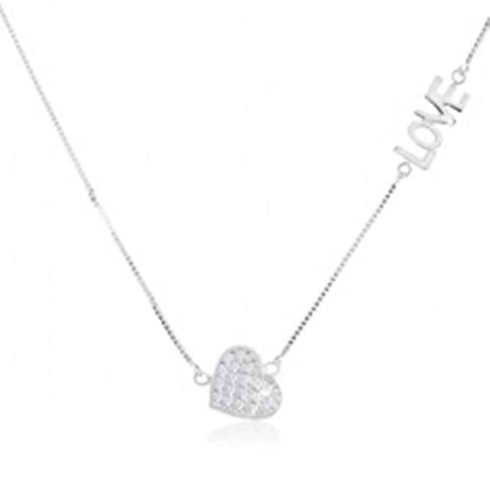 """Šperky eshop Náhrdelník zo striebra 925, číre zirkónové srdiečko, lesklý nápis """"LOVE"""""""
