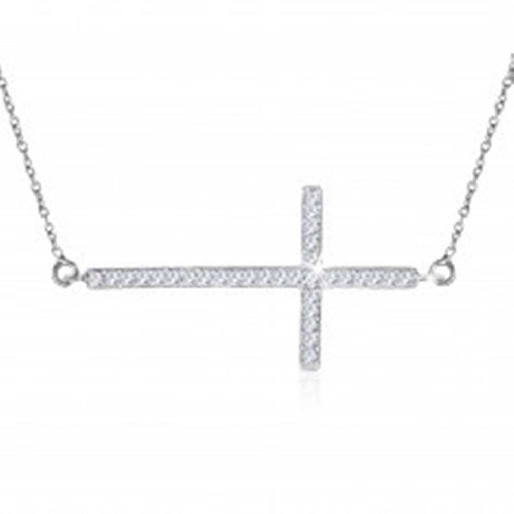Šperky eshop Náhrdelník zo striebra 925 - číry zirkónový kríž na jemnej retiazke