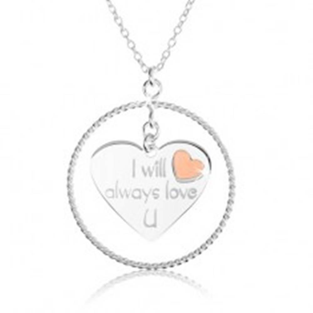 Šperky eshop Náhrdelník zo striebra 925, obrys kruhu, srdce s nápisom a červeným srdiečkom