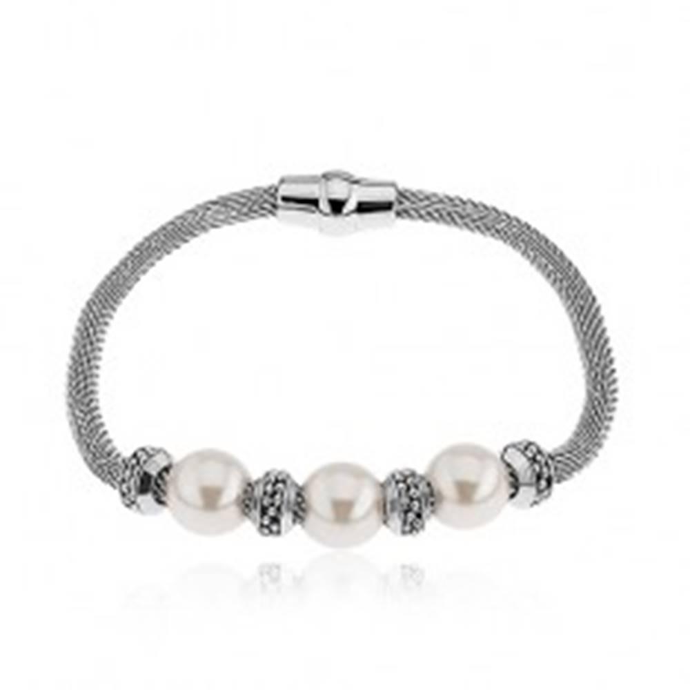 Šperky eshop Náramok na ruku z ocele, perleťové korálky, kolieska, strieborná farba