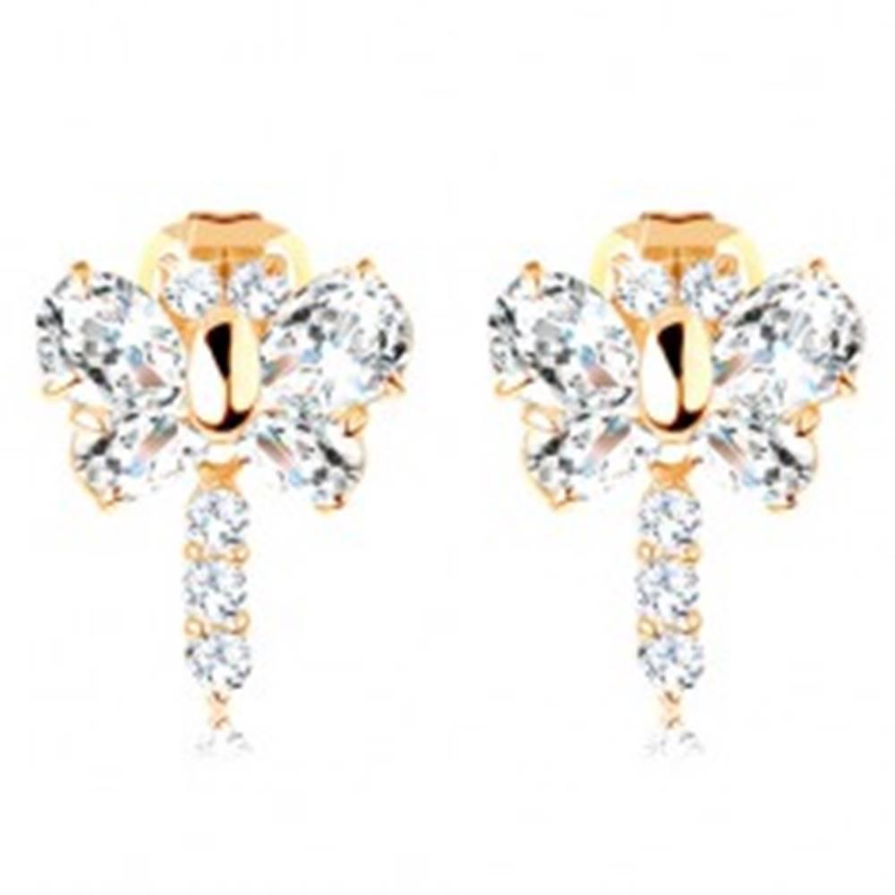 Šperky eshop Náušnice v žltom 14K zlate - ligotavý zirkónový motýľ čírej farby