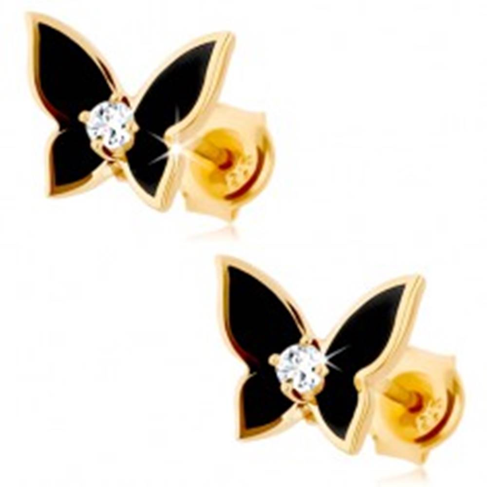 Šperky eshop Náušnice v žltom 14K zlate - malý motýlik pokrytý čiernou glazúrou, číry zirkón
