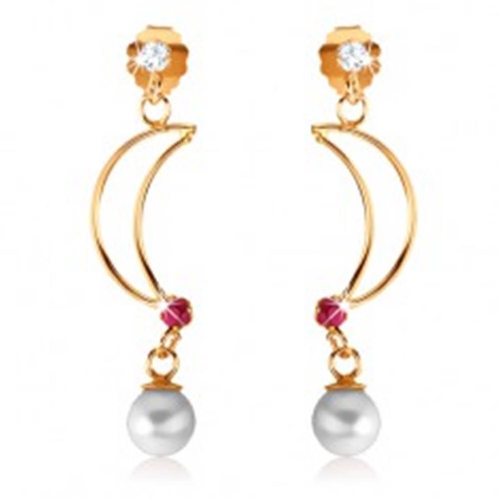 Šperky eshop Náušnice v žltom 9K zlate - lesklý obrys polmesiaca s rubínom, biela perla