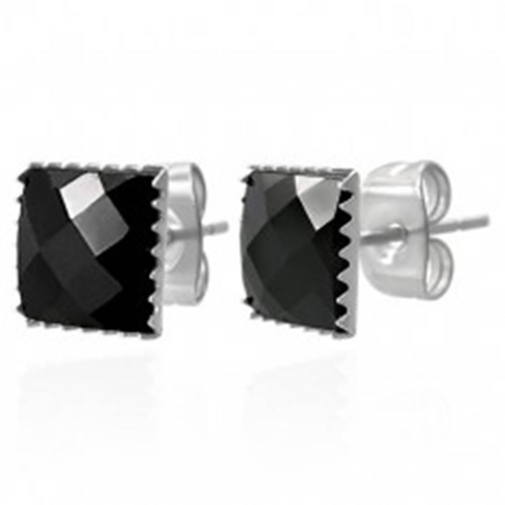 Šperky eshop Náušnice z ocele 316L - čierny brúsený zirkónový štvorec, 9 mm
