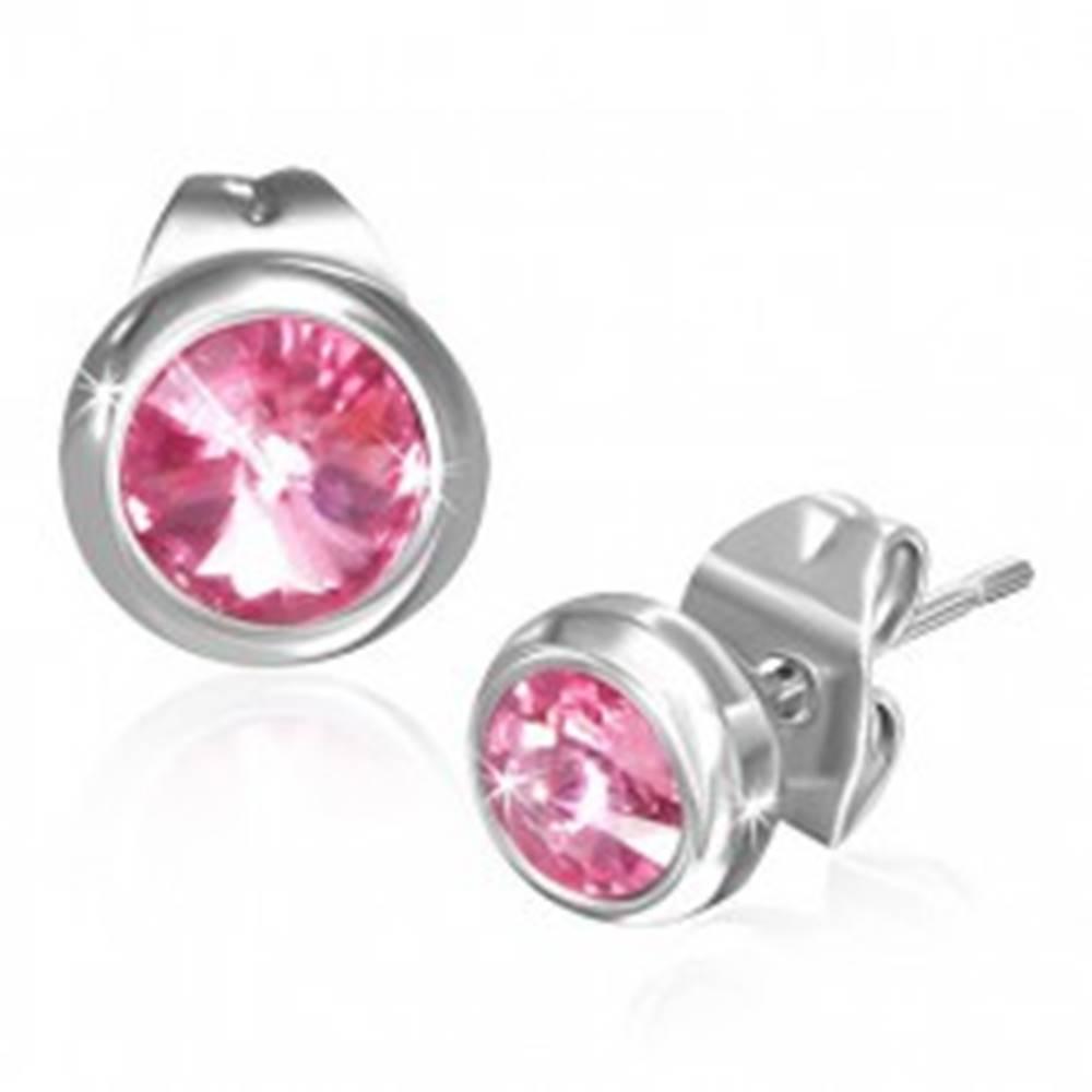 Šperky eshop Náušnice z ocele 316L, okrúhle zirkóny svetloružovej farby