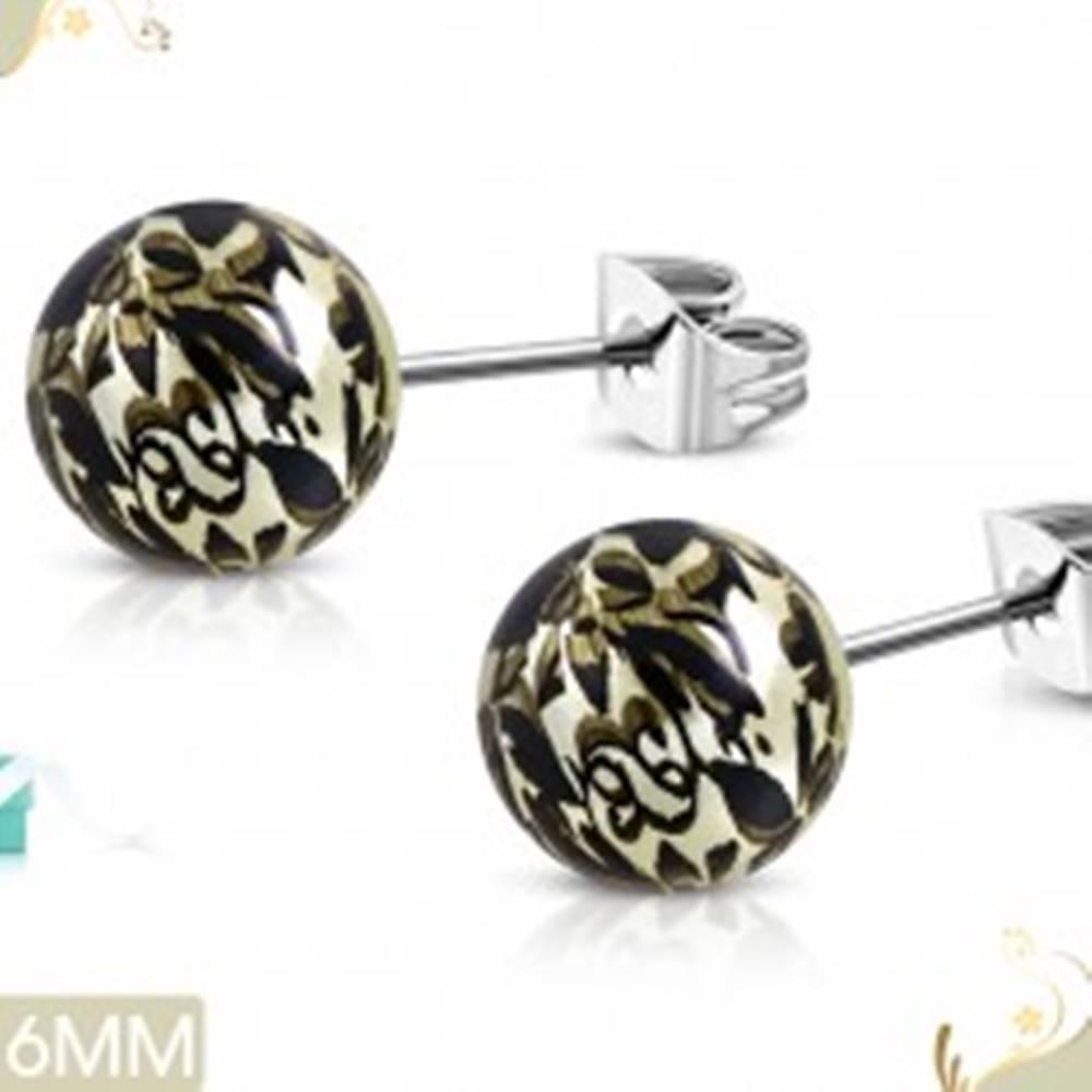 Šperky eshop Náušnice z ocele 316L, svetložlté guličky z akrylu s čiernou potlačou