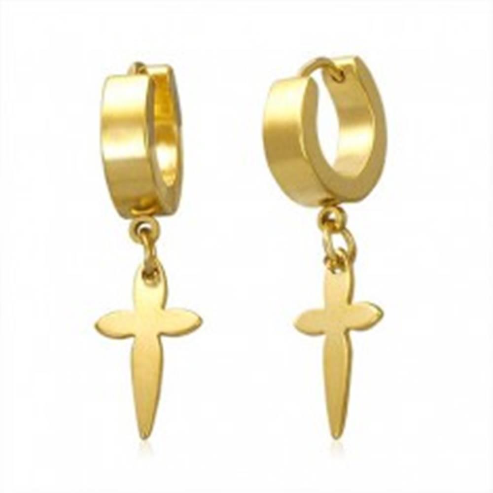 Šperky eshop Náušnice z ocele 316L zlatej farby s visiacim krížikom, kĺbové zapínanie