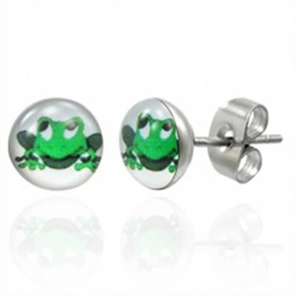 Šperky eshop Náušnice z ocele zelená usmievavá žaba