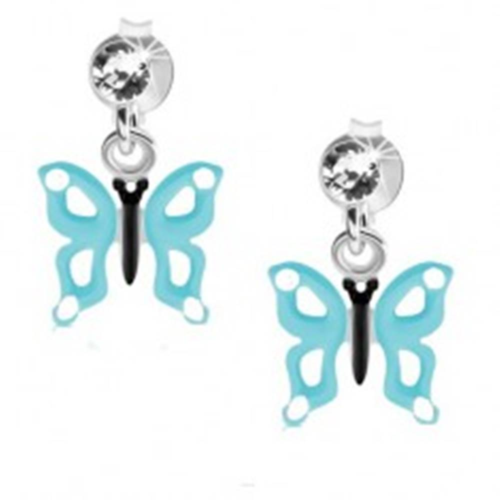 Šperky eshop Náušnice zo striebra 925, číry krištáľ, motýľ so svetlomodrými krídlami, výrezy