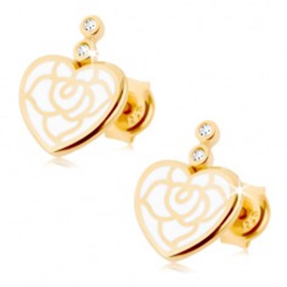 Šperky eshop Náušnice zo žltého 14K zlata - srdiečko zdobené bielou glazúrou, číre zirkóniky