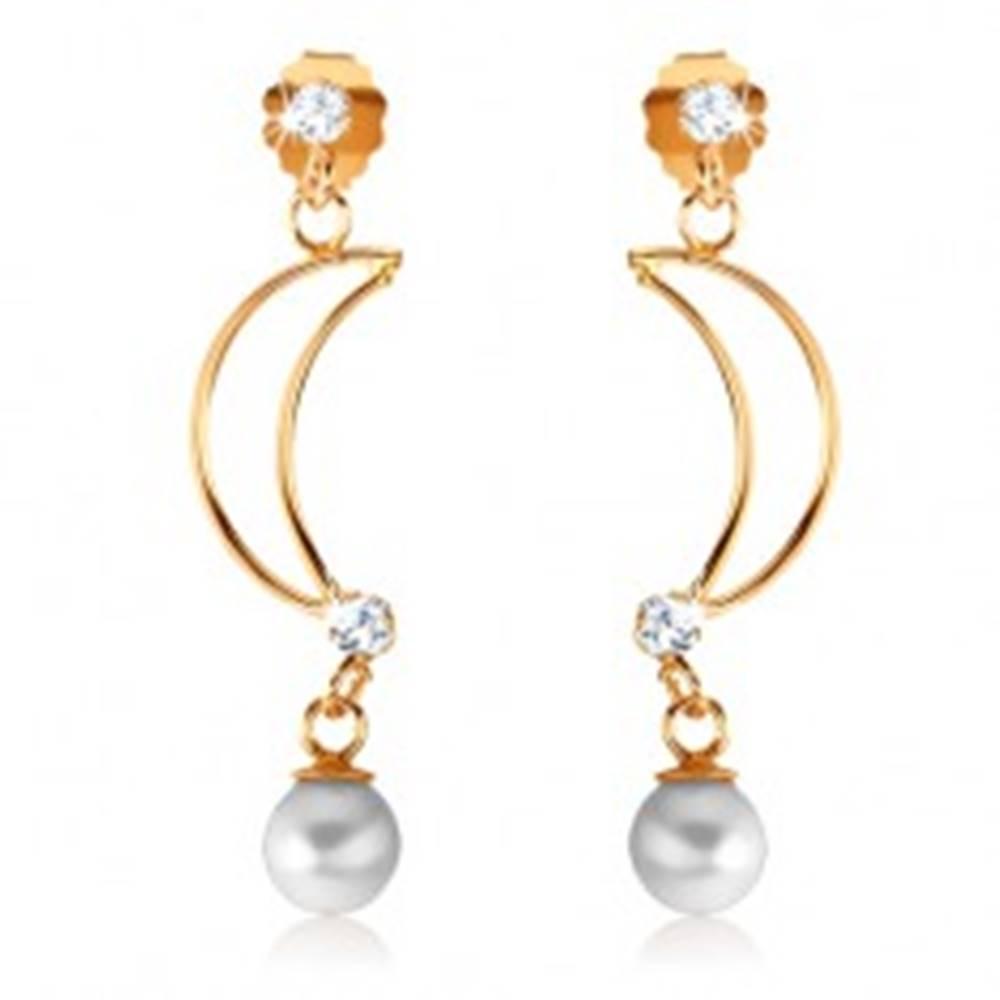 Šperky eshop Náušnice zo žltého 9K zlata - tenká kontúra polmesiaca, číre zirkóny, perla