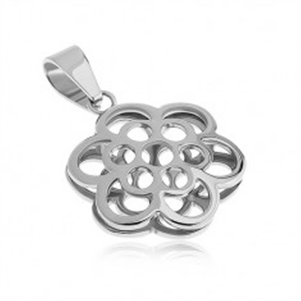 Šperky eshop Obojstranný prívesok z ocele, kontúra kvetov, strieborná farba
