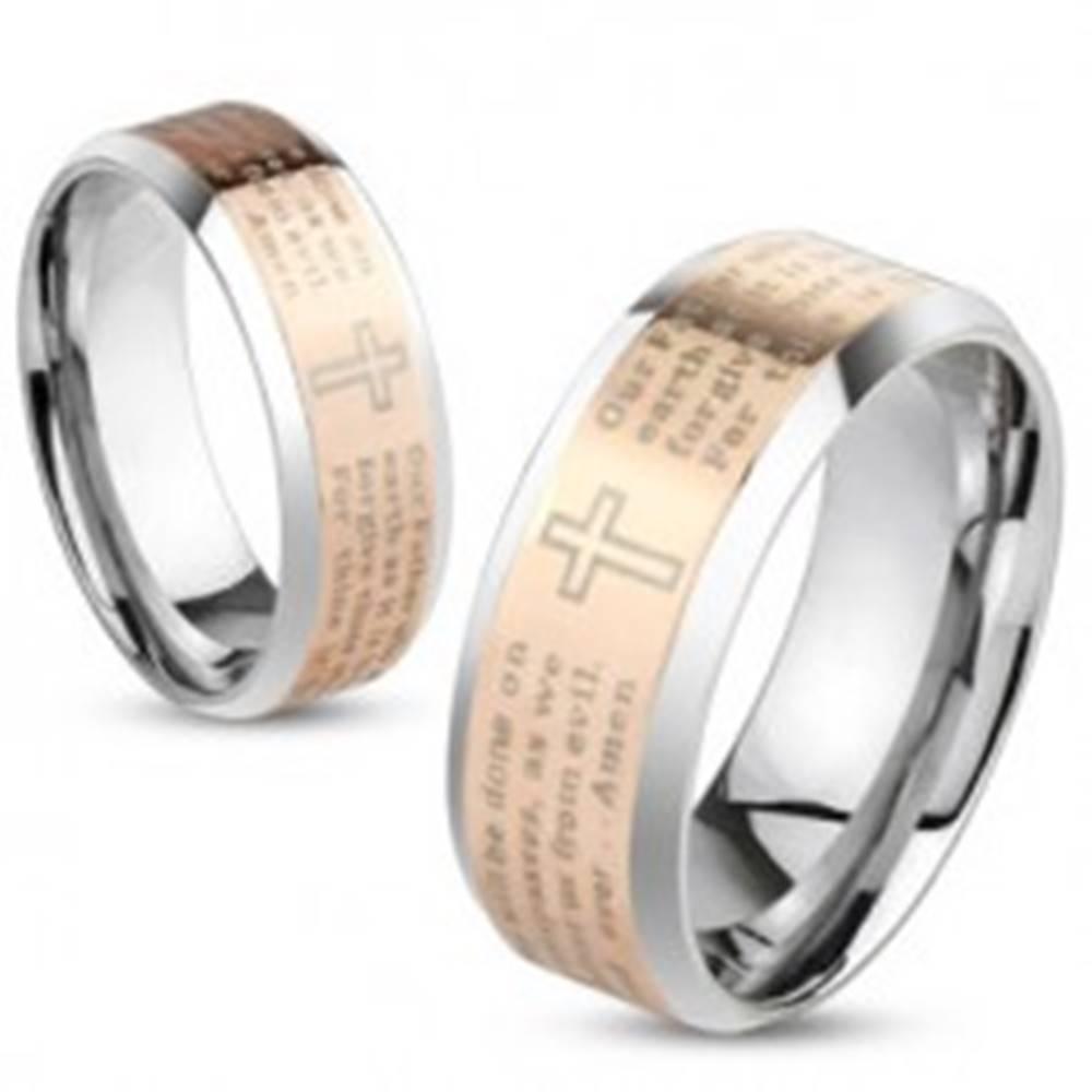 Šperky eshop Obrúčka z ocele, strieborná a medená farba, modlitba Otčenáš, 8 mm - Veľkosť: 59 mm