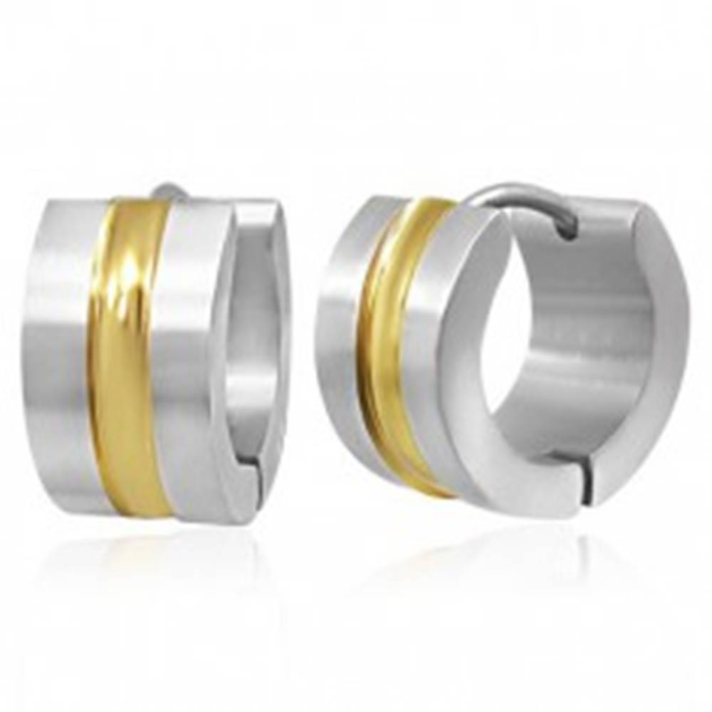 Šperky eshop Oceľové náušnice - dvojfarebné obruče so stredovým pásom zlatej farby