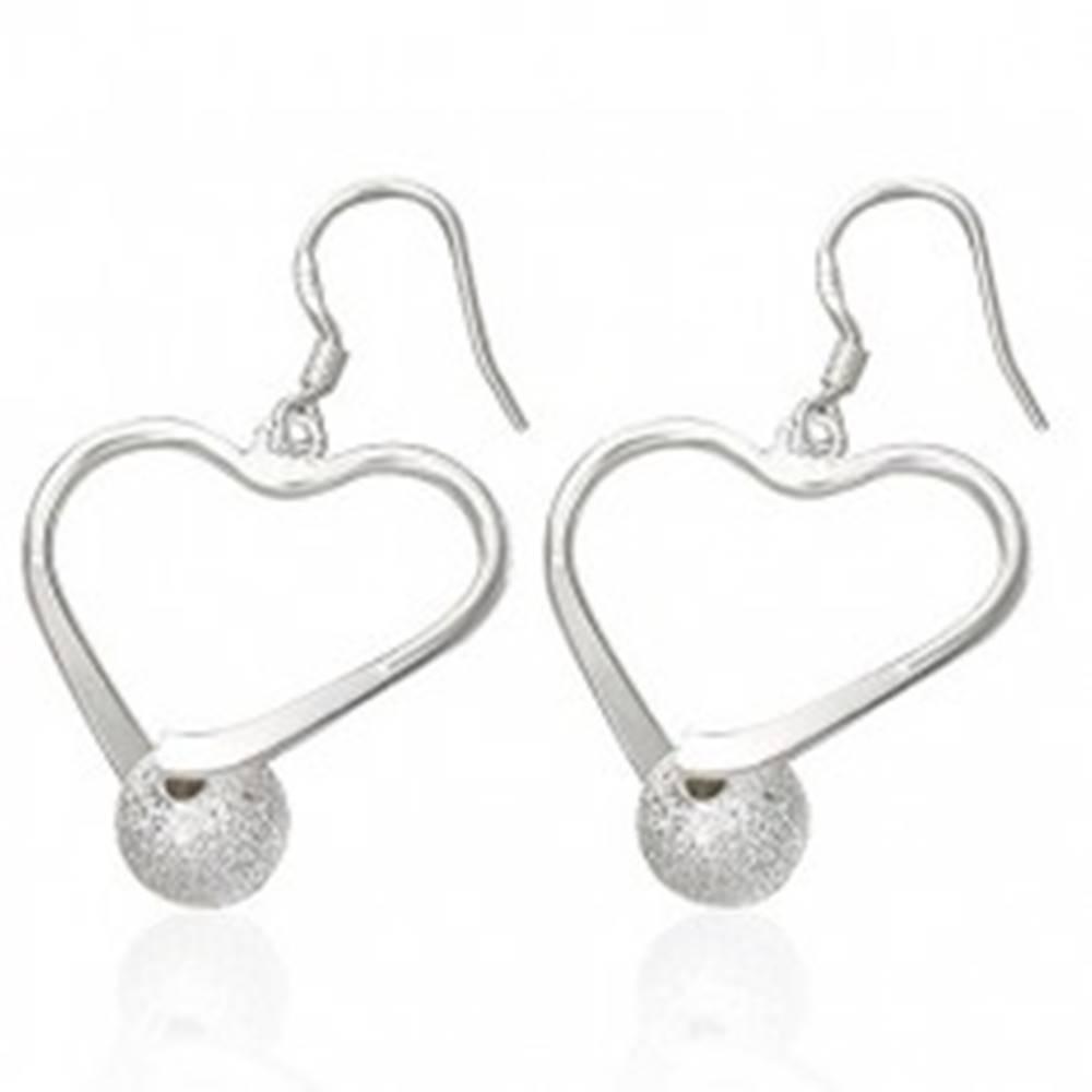 Šperky eshop Oceľové náušnice - obrys srdca s pieskovanou guličkou, afroháčiky