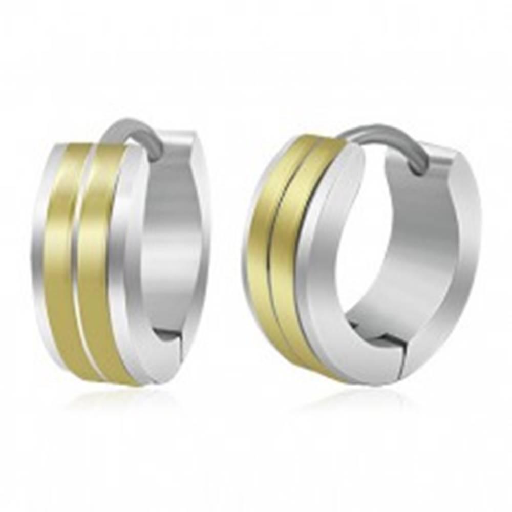Šperky eshop Oceľové náušnice s kĺbovým zapínaním, dva pásy v zlatom odtieni