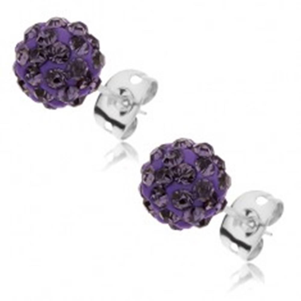 Šperky eshop Oceľové náušnice Shamballa - trblietavá fialová guľôčka so zirkónmi, 8 mm