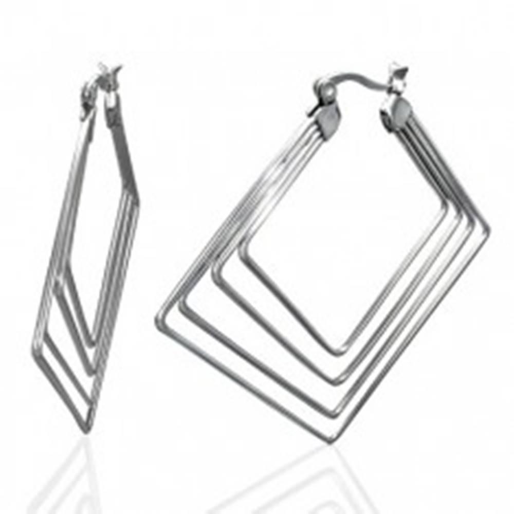 Šperky eshop Oceľové náušnice striebornej farby - štyri štvorce, 45 mm
