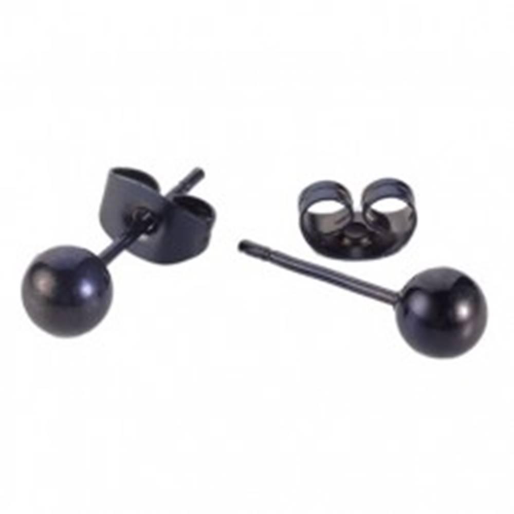 Šperky eshop Oceľové puzetové náušnice čiernej farby - lesklé hladké guličky - Hlavička: 4 mm