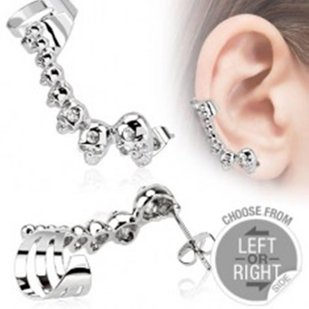 Šperky eshop Oceľový falošný piercing do ucha, lebky, malé zirkóniky - Tvar: Ľavý