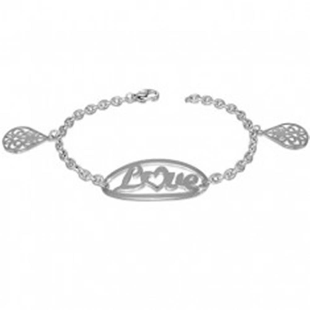 Šperky eshop Oceľový náramok s nápisom LOVE a príveskami s ornamentmi