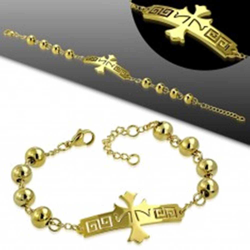 Šperky eshop Oceľový náramok v zlatom odtieni, známka s krížom s gréckym kľúčom