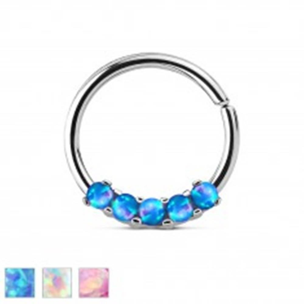 Šperky eshop Oceľový piercing striebornej farby, lesklý krúžok so syntetickými opálmi - Farba piercing: Dúhová