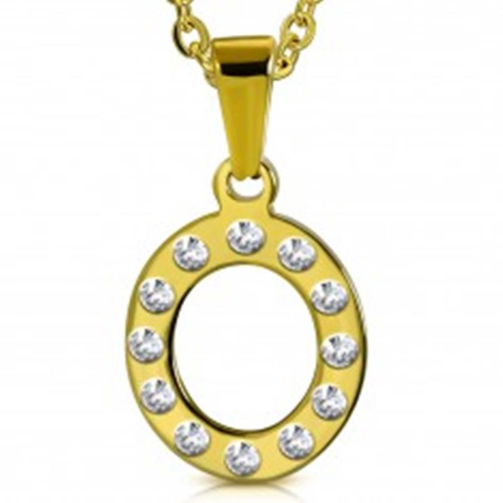 Šperky eshop Oceľový prívesok v zlatom odtieni, písmeno O vykladané čírymi zirkónmi