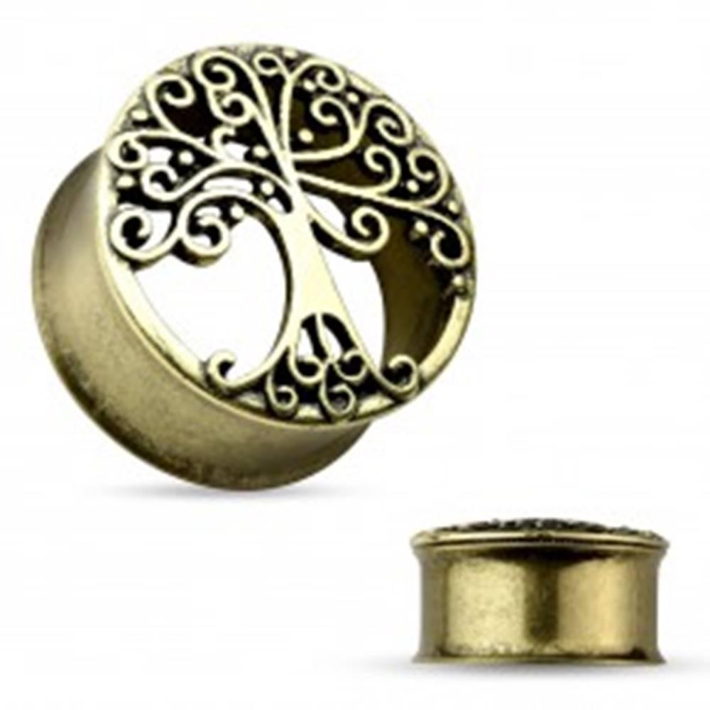 Šperky eshop Oceľový tunel do ucha zlatej farby, vyrezávaný košatý strom, čierna patina - Hrúbka: 10 mm