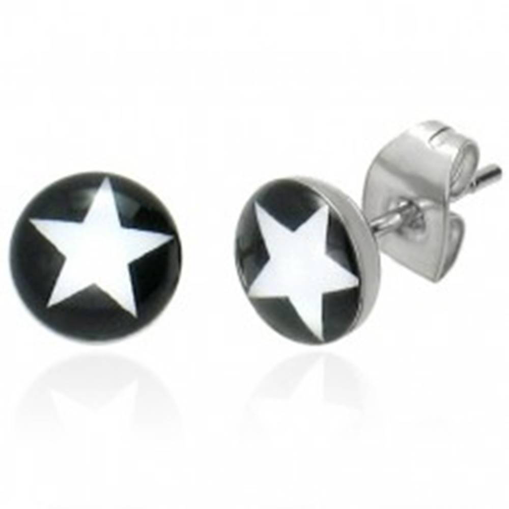 Šperky eshop Okrúhle puzetkové náušnice - biela hviezda