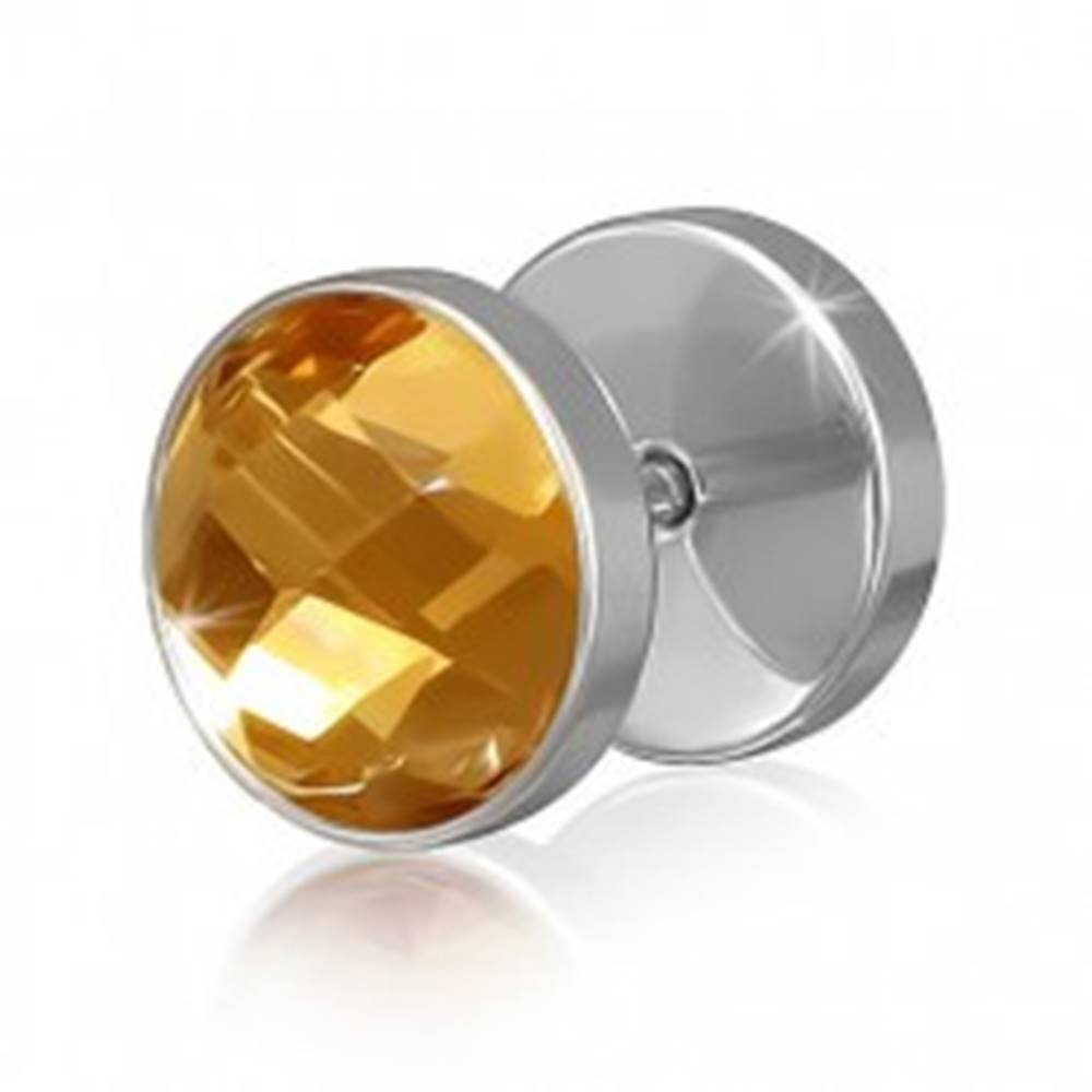 Šperky eshop Okrúhly oceľový fake piercing do ucha s hnedo-zlatým zirkónom