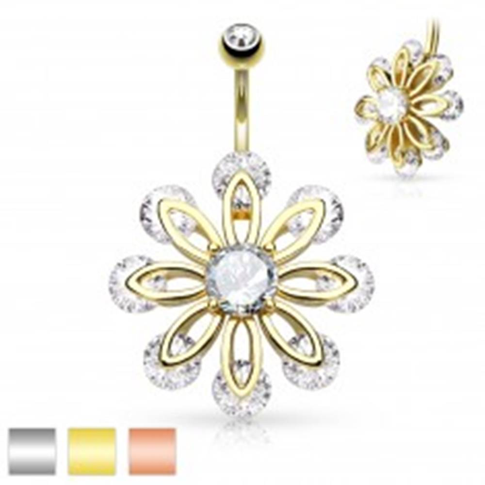 Šperky eshop Piercing do bruška z chirurgickej ocele, veľký kvet zdobený čírymi zirkónmi - Farba piercing: Medená