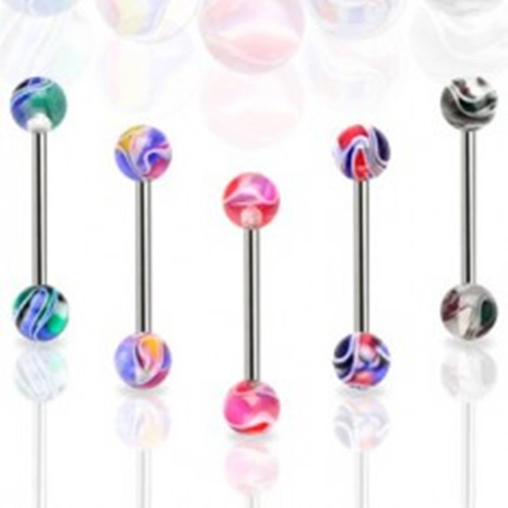 Šperky eshop Piercing do jazyka farebná mramorová gulička - Farba piercing: Biela - Čierna
