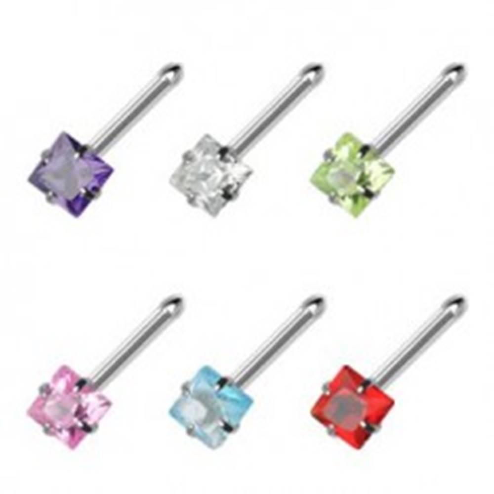 Šperky eshop Piercing do nosa rovný - štvorcový zirkón - Farba zirkónu: Aqua modrá - Q