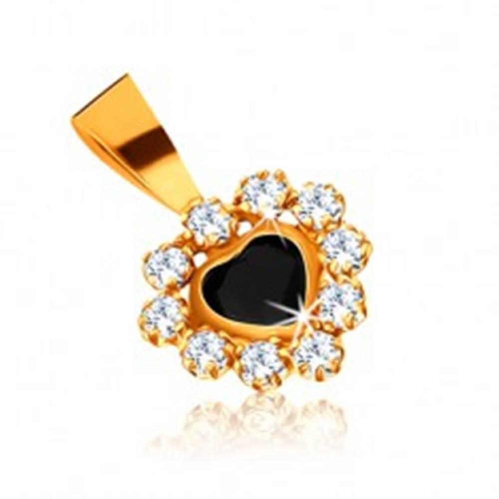Šperky eshop Prívesok v žltom 9K zlate - zafírové srdce a zirkónová obruba čírej farby