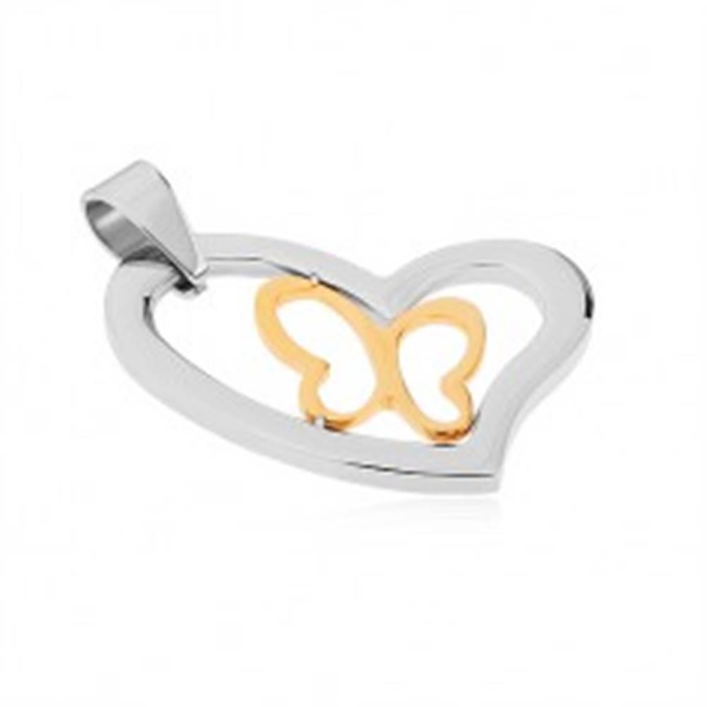 Šperky eshop Prívesok z chirurgickej ocele, asymetrický obrys srdca, línia motýľa v zlatej farbe
