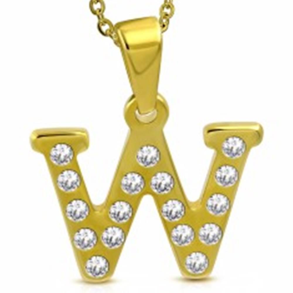 Šperky eshop Prívesok z chirurgickej ocele zlatej farby, tlačené písmeno W zdobené zirkónmi