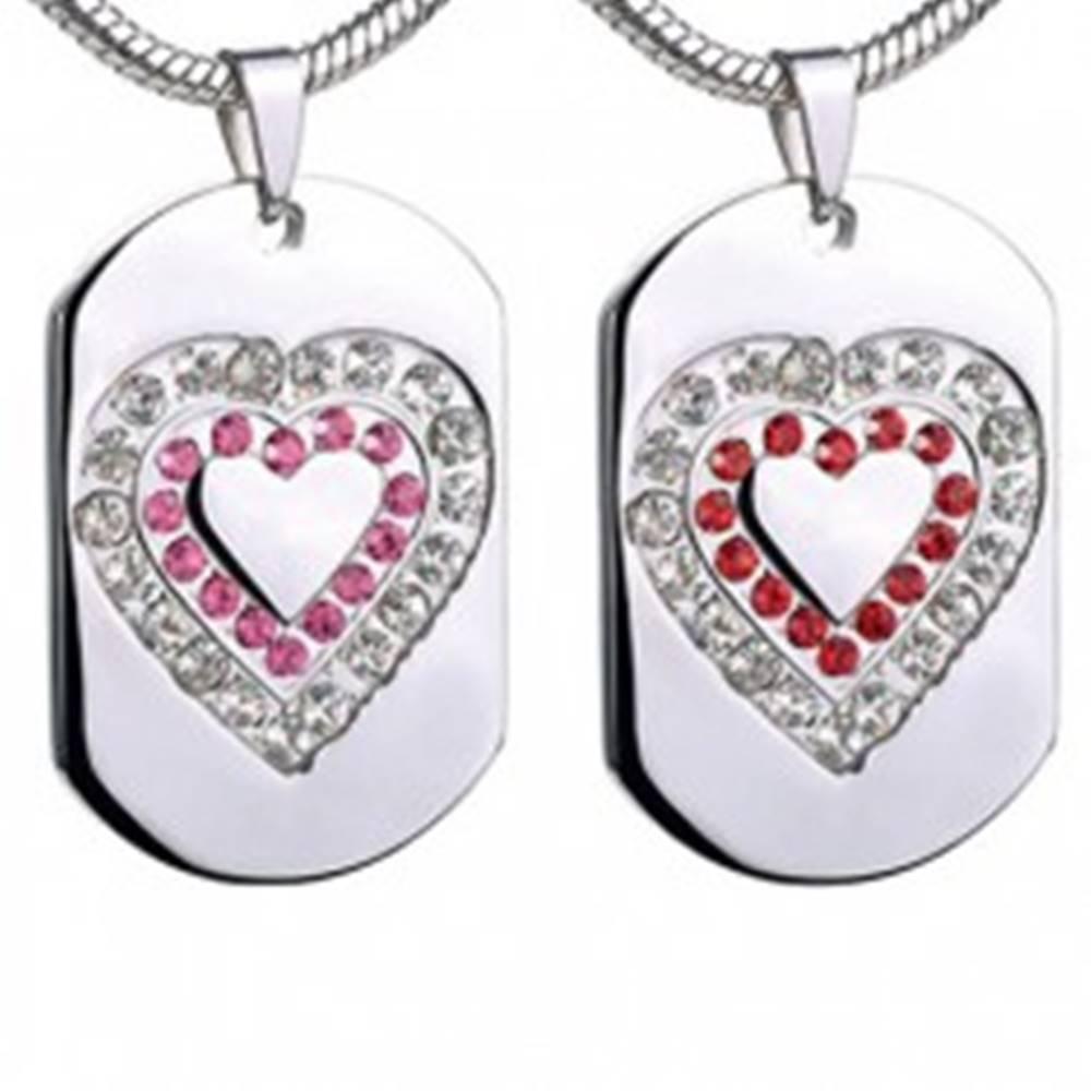 Šperky eshop Prívesok z ocele - srdce na známke so zirkónmi - Farba: Červená
