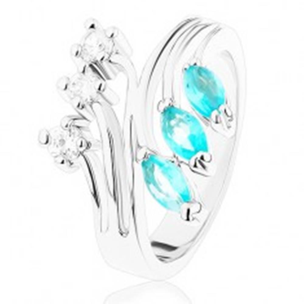 Šperky eshop Prsteň s rozvetvenými ramenami, zirkóny čírej a akvamarínovej farby - Veľkosť: 49 mm