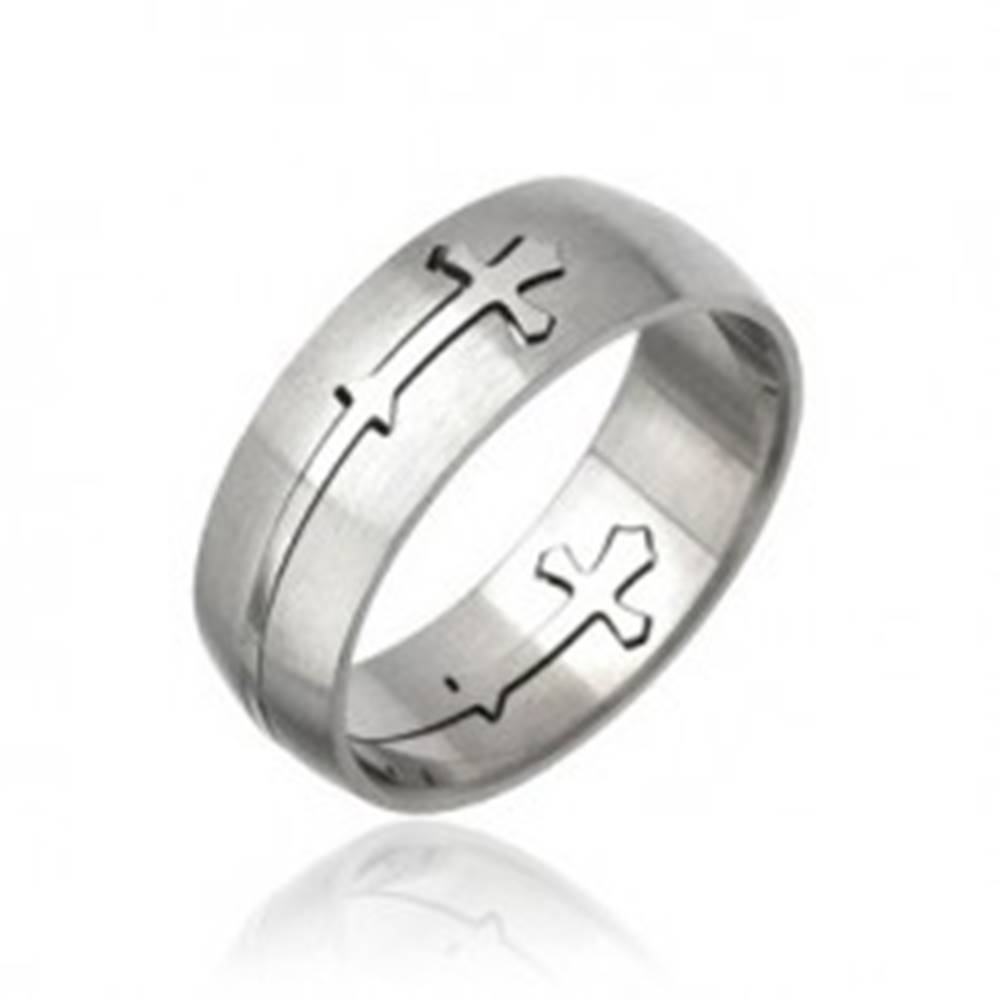 Šperky eshop Prsteň z chirurgickej ocele - vyrezávaný kríž - Veľkosť: 58 mm