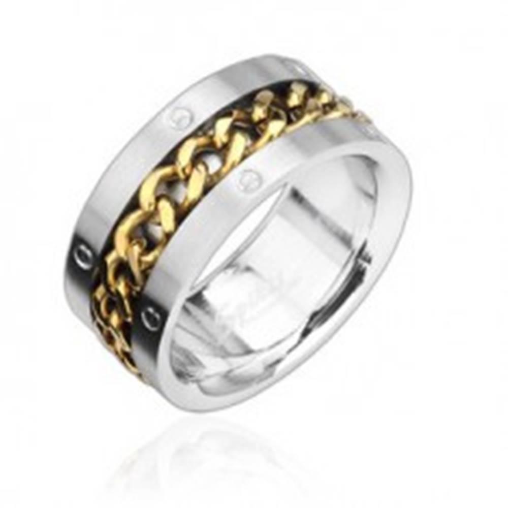 Šperky eshop Prsteň z ocele s reťazou zlatej farby - Veľkosť: 58 mm