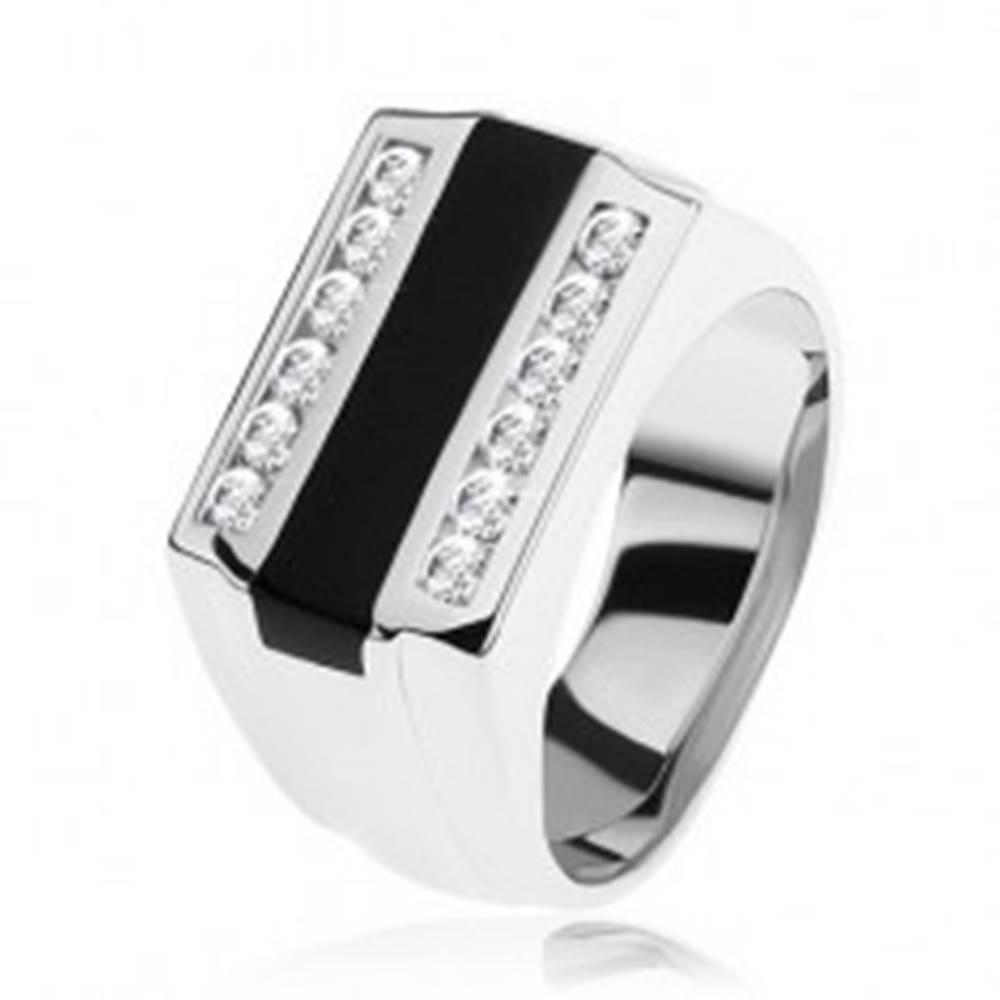 Šperky eshop Prsteň zo striebra 925, čierny glazúrovaný pásik, číre zirkónové línie - Veľkosť: 54 mm