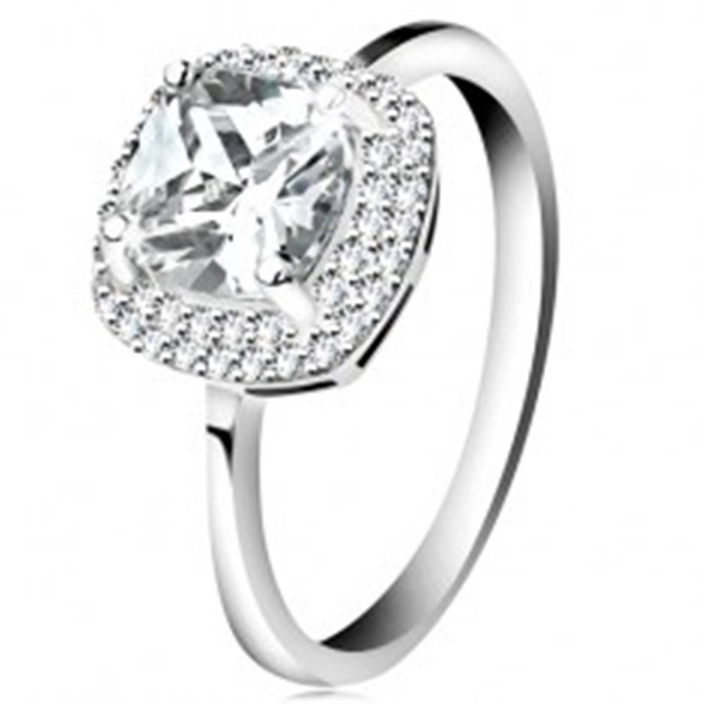 Šperky eshop Prsteň zo striebra 925, číry brúsený zirkón - štvorec, trblietavý lem - Veľkosť: 46 mm