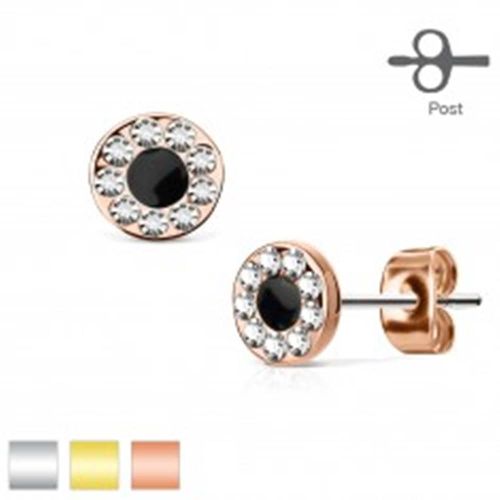 Šperky eshop Puzetové náušnice z ocele 316L, kruh s čiernym stredom a zirkónovou obrubou - Farba: Medená
