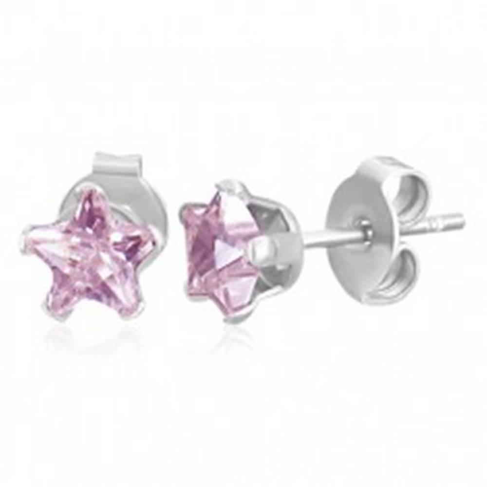Šperky eshop Puzetové náušnice z ocele 316L - ružová zirkónová hviezdička